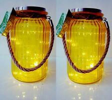 2x Solar Garden Lantern Light Glass Jar Hanging & Rope Handle 20 LED Lamp Yellow