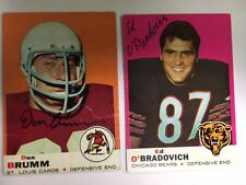 Autographed 1969 Topps football card Don Brumm St Louis Cards with COA