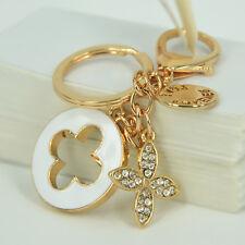 Clover Love Forever Keyring Rhinestone Crystal Pendant Bag Women Key Chain Gift