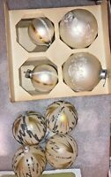 "8 VINTAGE HAND PAINTED CHRISTMAS ORNAMENTS XMAS APP 2"" DIAMETER GOLD SILVER NICE"