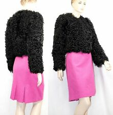 $5,500 Burberry Prorsum 6 8 40 BLACK Collarless Lamb Fur Coat Women Lady ITALY