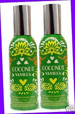 2 Bath & Body Works COCONUT VANILLA Concentrated Mini Room Spray 1.5 oz