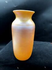 GOLD IRIDESCENT 10 IN GLASS VASE ATTRIBUTED TO DURAND STUNNING COLOR
