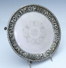 """S KIRK & Son REPOUSSE Sterling Footed Salver 8"""""""