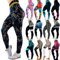 Womens Printed Yoga Pants Jogging Running Gym Sports Fitness Leggings Trousers