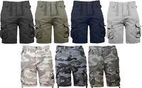 "New Mens Crosshatch Branded Canvas Cargo Style Shorts Pockets Waist 32""-42"""