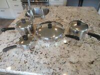 "Revere Ware Copper Bottom Cookware 8 Piece Set Pots & 12"" Skillet"