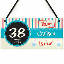Personalised Chalkboard Baby Due Countdown Pregnancy Hanging Plaque Gift Sign