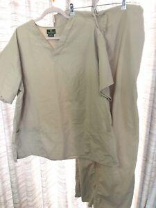 Scrub Set 2XL Natural Uniforms Khaki Men's Unisex Hospital Beige Excellent