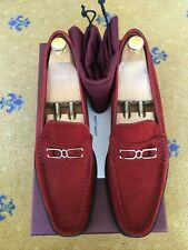 New John Lobb Mens Shoes Red Suede Loafers UK 10 US 11 EU 44 7810