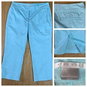 Nike Golf Capri Pants Light Blue Flat Front Polyester Blend Dri-fit Women's SZ M