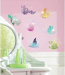 DISNEY PRINCESS 43 Wall Decals Princess Ariel Cinderella Decor Stickers NEW