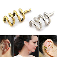 2 Pcs UNIQUE SNAKE EAR CUFF STUD EARRING CLIP WRAP GOTHIC PUNK ROCK JEWELRY GIFT