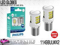 PHILIPS LED WHITE REVERSE LIGHT GLOBES 12V P21 BA15s 6000K TWIN PACK 11498ULWX2