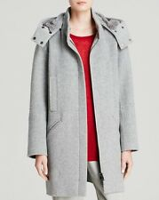 $1295 VINCE GRAY GENUINE RABBIT FUR LINED WOOL HOODED COAT JACKET NEW SIZE XS