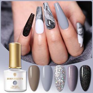 BORN PRETTY Gray UV Gel Polish Glitter Super Top Base Coat Nail Gel Varnish