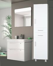 1800MM HIGH GLOSS WHITE TALLBOY BATHROOM CUPBOARD CLOAKROOM CABINET UNIT