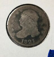1821 10 Cent EARLY DIMES, FINE