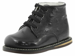 Josmo Infant/Toddler Boy's First Walker Black Ostrich Lace Up Oxfords Shoes