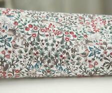 Tissu coton sergé, imprimé fleuri, liberty, oiseaux, botanique