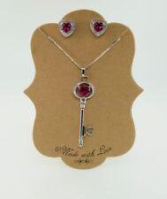Sterling Silver Diamond & Ruby Key Pendant, Necklace & Heart Earring Set