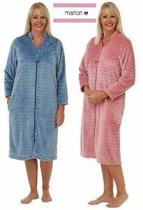 LADIES EMBOSSED HEART SUPER SOFT ZIP UP THROUGH DRESSING GOWN*FLEECE 10/26 15098