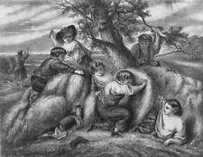CHILDREN. The Hayfield, antique print, 1858