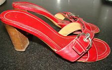 Vintage Coach Red Leather Buckle Slides Sandals Women's Size 7 1/2 Stacked Heel