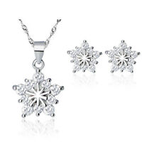 925 Sterling Silver Snowflake Pendant Necklace Stud Earrings Womens Jewellery UK