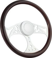 """18"""" Chrome & Wood Truck Steering Wheel Kenworth, Freightliner, Peterbilt Big Rig"""