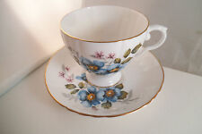 Vintage Royal Grafton Fine Bone China England Blue Flowers Cup & Saucer