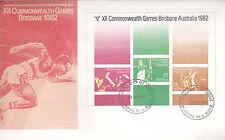 1982 XII Commonwealth Games Brisbane (Mini Sheet) FDC - Pinjarra WA 6208 PMK