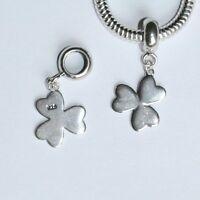 Irish SHAMROCK-Clover-Trefoil-Leaf-Solid 925 sterling silver European bead charm