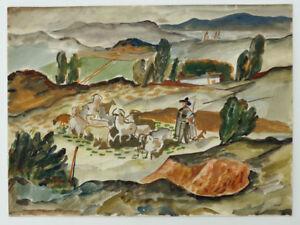 Edvard Frank (1909-1972) - Landschaft mit Hirten - Aquarell - signiert