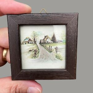 1970er Puppenstuben Bild: Frühlings-Dorf 6x6x1cm Holzrahmen+Glas Spielzeug Alt