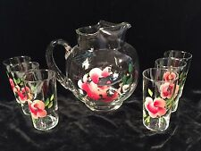 Vintage Anchor Hocking Clear Glass w/Flower Pitcher & 6 Tumblers Set