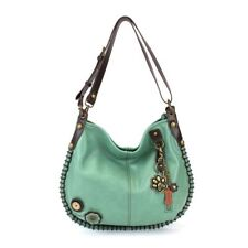 New Chala Hobo Crossbody Large Bag Metal PAW Pleather TEAL GREEN Convertible