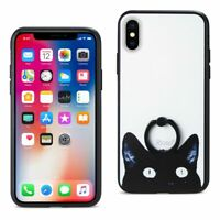REIKO iPhone X/iPhone XS CAT DESIGN CASE WITH ROTATING RING STAND HOLDER