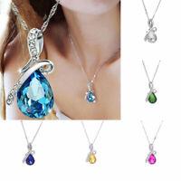 Women Austria Crystal Rhinestone Pendant Silver Chain Necklace Jewelry Gift  New
