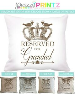 Personalised Cushion Reserved For Grandad Fathers Day Pillow Christmas Custom