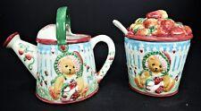 Cherished Teddies Girl Water Can Sugar Creamer Ceramic Vtg 1995 Teddy Bear