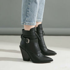 Womens Black High Chunky Heels Pointed Toe Ankle Riding Boots Buckle Strap Shoes
