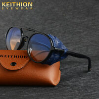 KEITHION Mens Polarized Steampunk Sunglasses Fashion Round Vintage Retro Eyewear