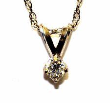 """14k white gold .09ct VS H diamond solitaire pendant 18"""" necklace estate 1.5g"""