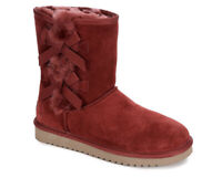 Koolaburra UGG Women's Victoria Short Winter Boots Shearling Red Wine Bows