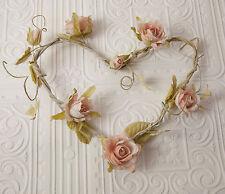 Rosa En Forma De Corazón Corona Guirnalda Shabby Chic Boda o Día de San Valentín-Rosa