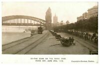 Antique printed military WW1 postcard The Guns On The Rhine Bank Peace Day 1919