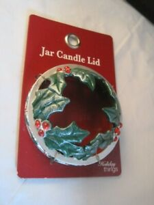 NWT Holiday Christmas Jar Candle Lid Poinsettia 14.5 or 22 oz