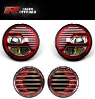 Extrame Skull RED LED Headlight+LED Turn Signal+DRL fit 07-18 Jeep JK Wrangler
