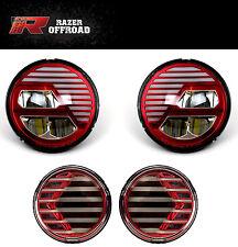 07-17 Jeep JK Wrangler Extrame Skull RED LED Headlight+LED Turn Signal+DRL Light
